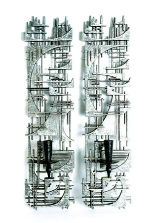 Pair, 1960s Brutalist Style Burwood Wall Sconces