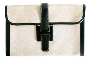 Hermes Vintage Black & Toile Large Jige Clutch