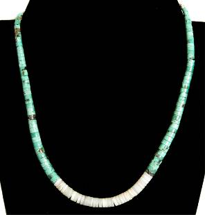 Sterling Heishi, Shell & Turquoise Necklace