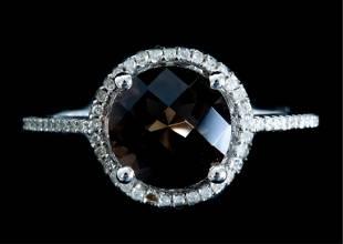 14k White Gold Smokey Topaz & Diamond Ring