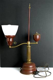 Vintage Red & Gold Tole Student's Desk Lamp
