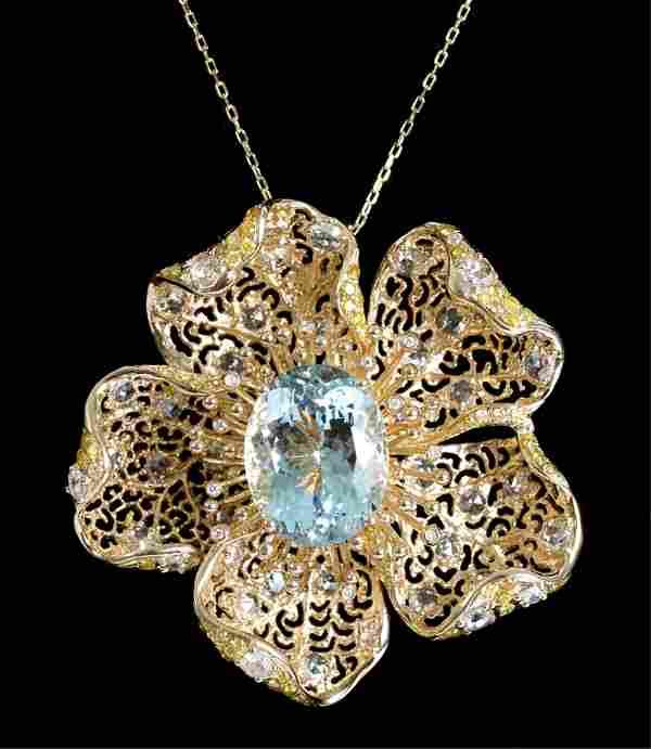 14k YG Aquamarine Diamond Floral Pendant Necklace