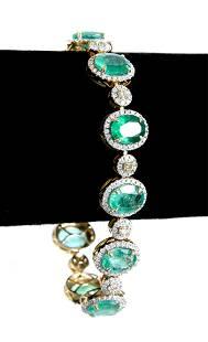 18K YG Emerald, Yellow & White Diamond Bracelet