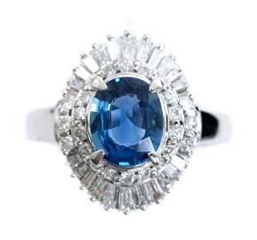 Estate Platinum 1.28ct Sapphire & Diamond Ring