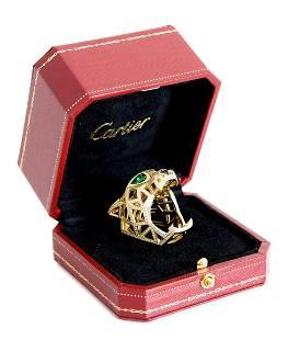 Attr. Cartier 18k YG & Diamond Panther Ring