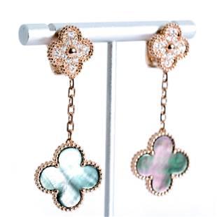 Attr. VCA 18 Rose Gold Diamond & MOP Earrings