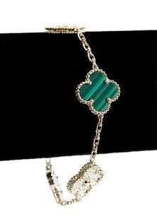 Attr. VCA 18k Diamond Malachite 5 Motif Bracelet