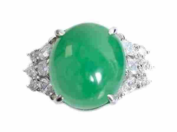 Estate Platinum 2.73ct Jade & Diamond Ring
