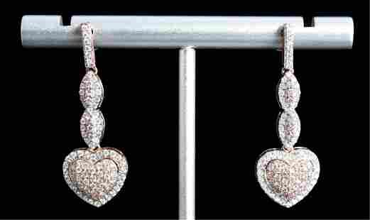 14K Rose Gold Drop Earrings w/1.0ctw Diamonds