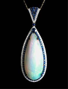 14k YG Opal Sapphire & Diamond Pendant Necklace