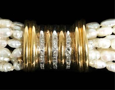14k Yellow gold Diamond & Pearl Strand Necklace