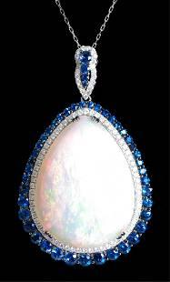 14k WG Opal Sapphire & Diamond Pendant Necklace
