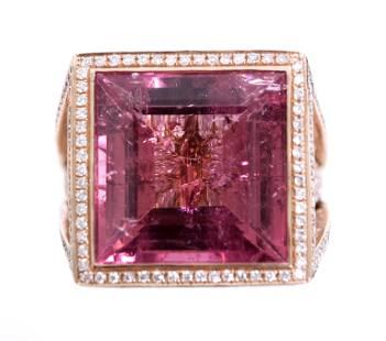 14k RG 15.80ctw Pink Tourmaline & Diamond Ring