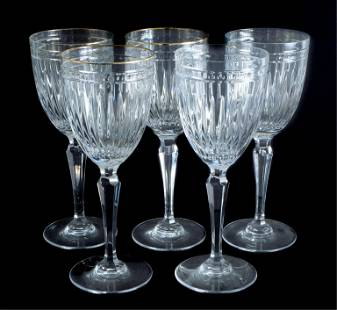 Set, 5 Waterford Crystal Water Goblets Hanover