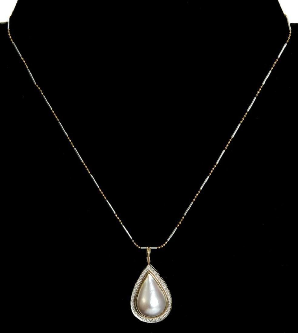 14k YG Mobe Pearl & Diamond Pendant Necklace