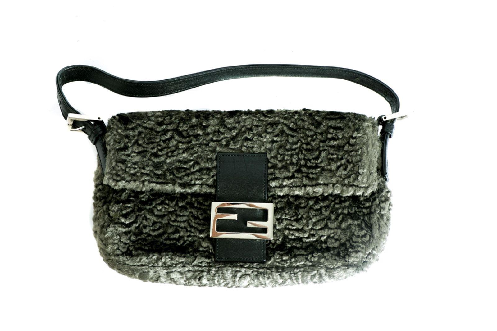 Fendi Grey Curly Lamb Baguette Bag