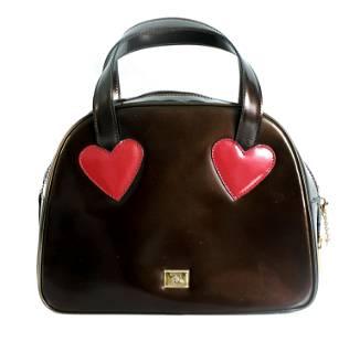 Moschino Patent Leather Heart Handbag