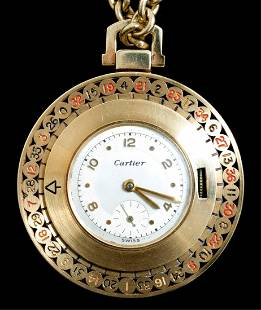 Rare Cartier 14k Roulette Gambler\'s Pocket watch