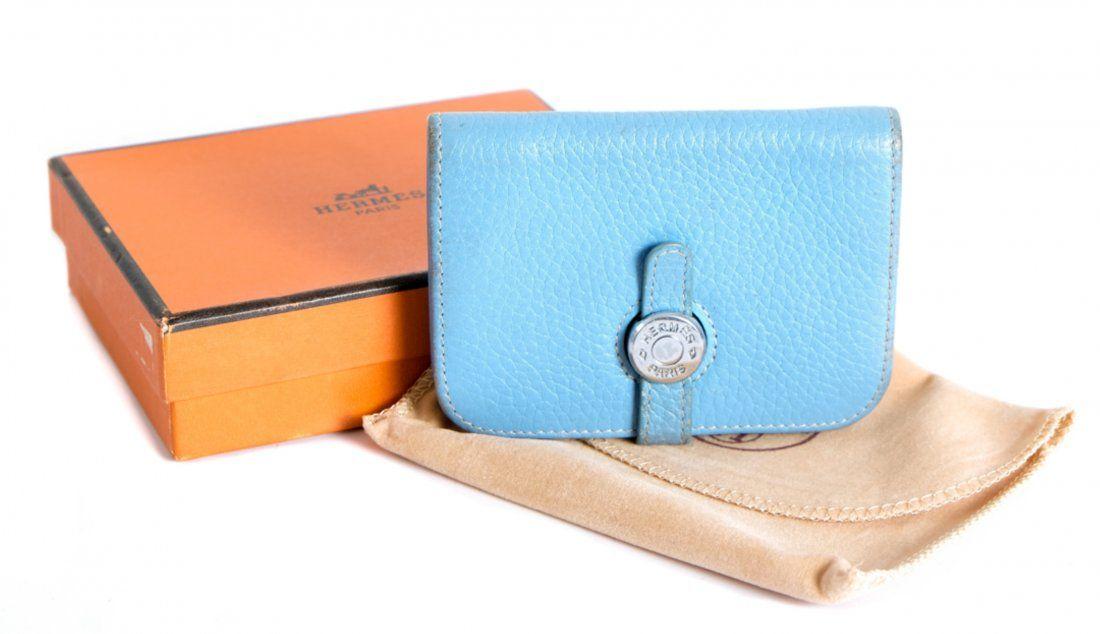 Hermes Dogon Card Case Blue Jean