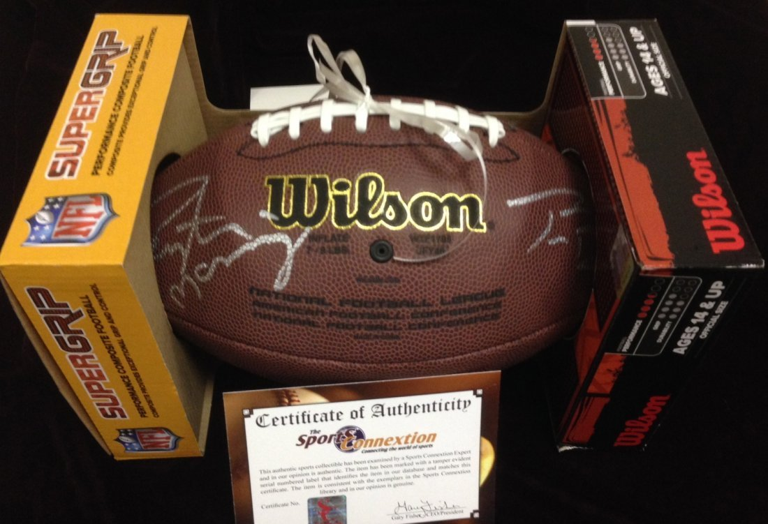 Peyton Manning and Tom Brady autographed football