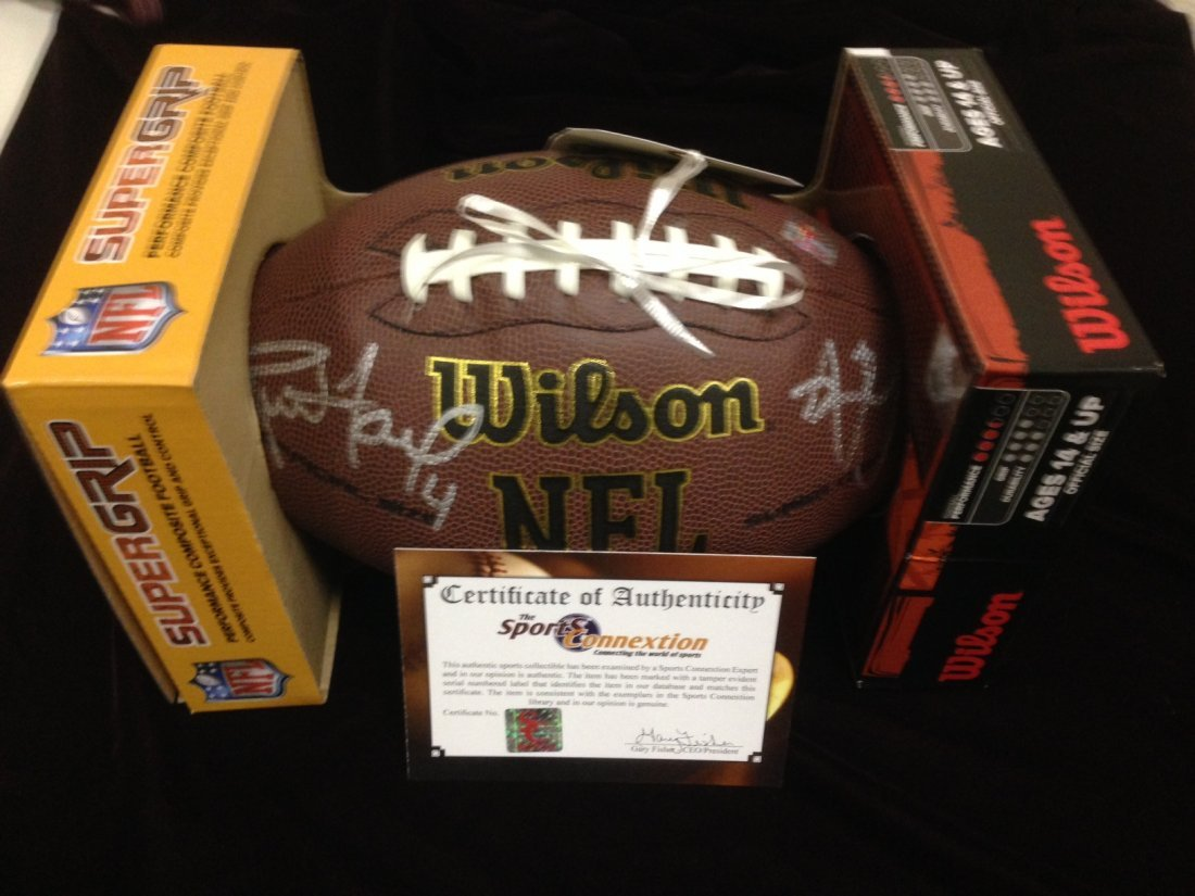 Aaron Rogers and Bret Favre autographed football