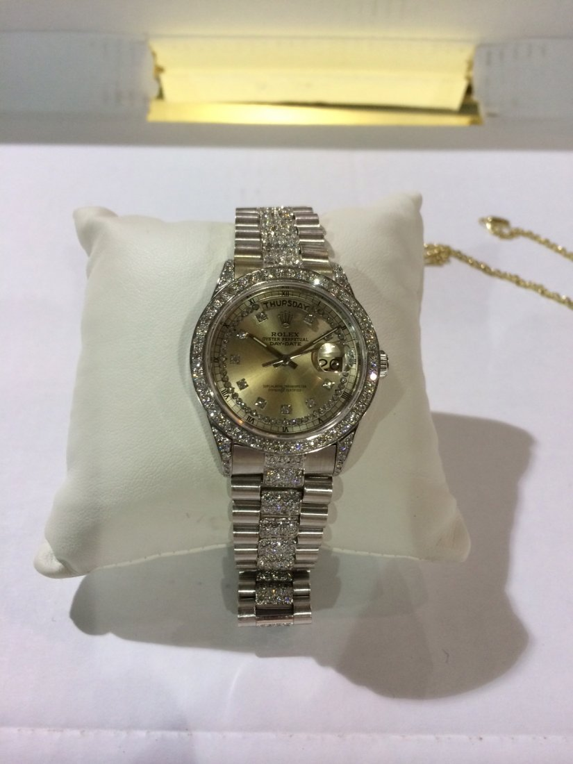 Mens Rolex Super President in 18k with diamonds