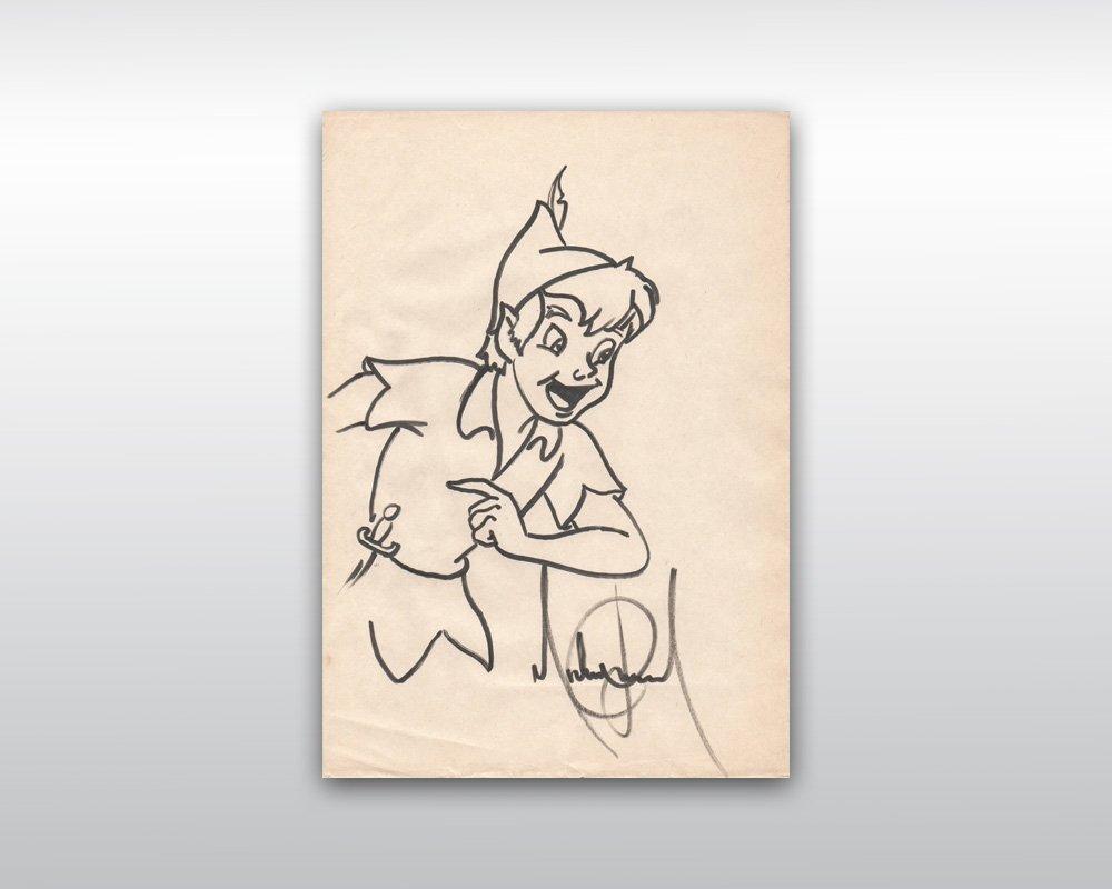 14: MICHAEL JACKSON SIGNED PETER PAN DRAWING