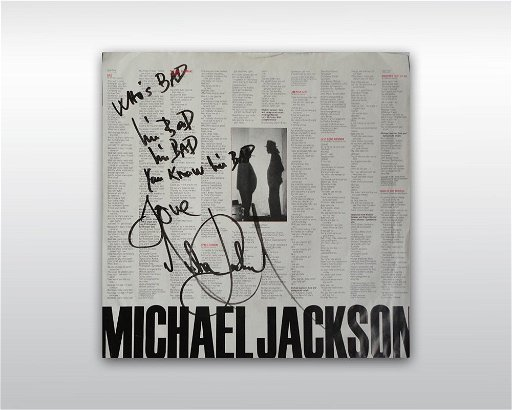 20: MICHAEL JACKSON INSCRIBED BAD VINYL ALBUM COVER