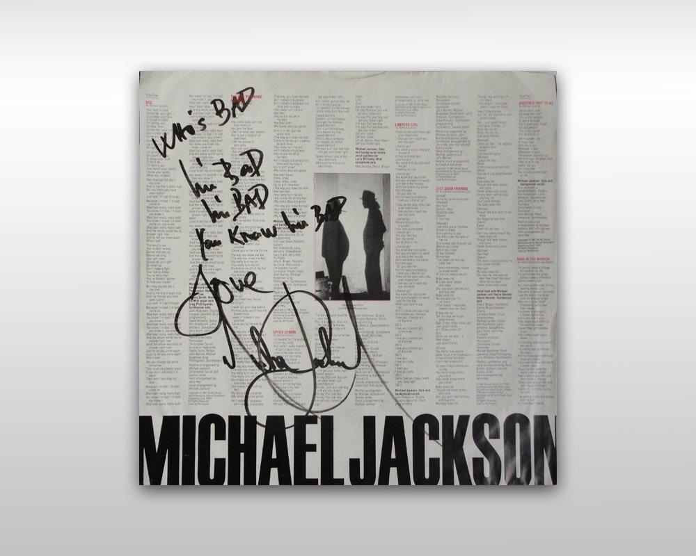 20: MICHAEL JACKSON INSCRIBED BAD VINYL ALBUM COVER