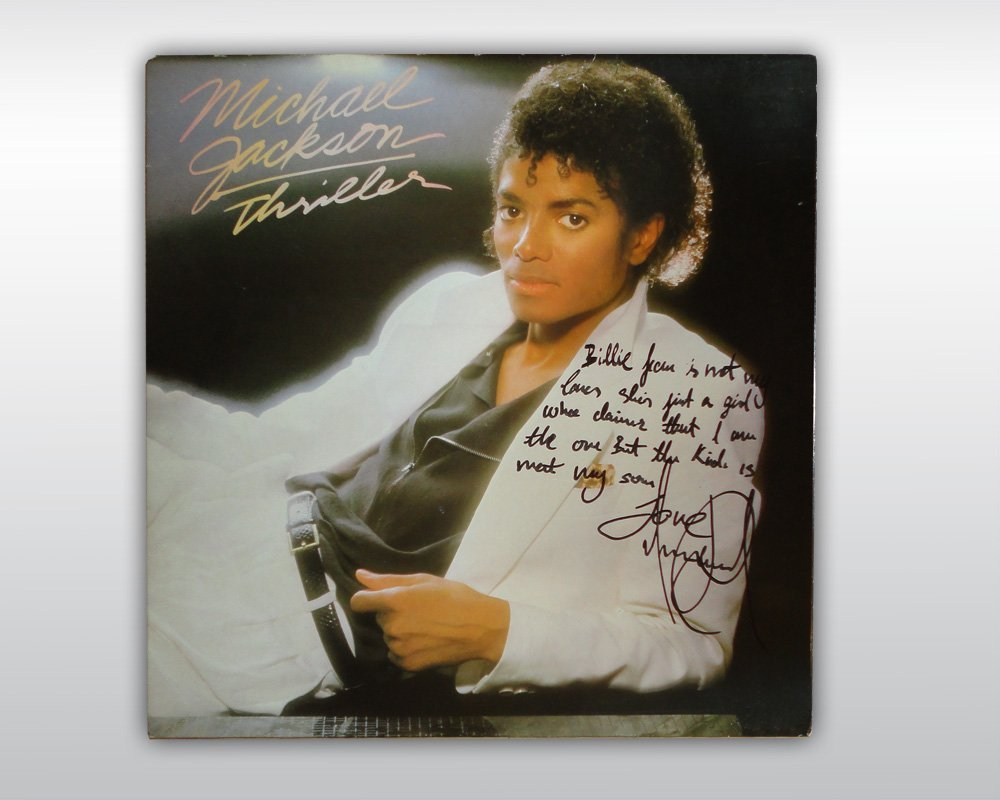 MICHAEL JACKSON SIGNED THRILLER ALBUM BILLIE JEAN LYRIC