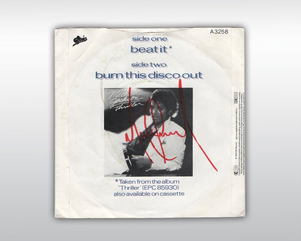 MICHAEL JACKSON SIGNED BEAT IT 7-INCH SINGLE