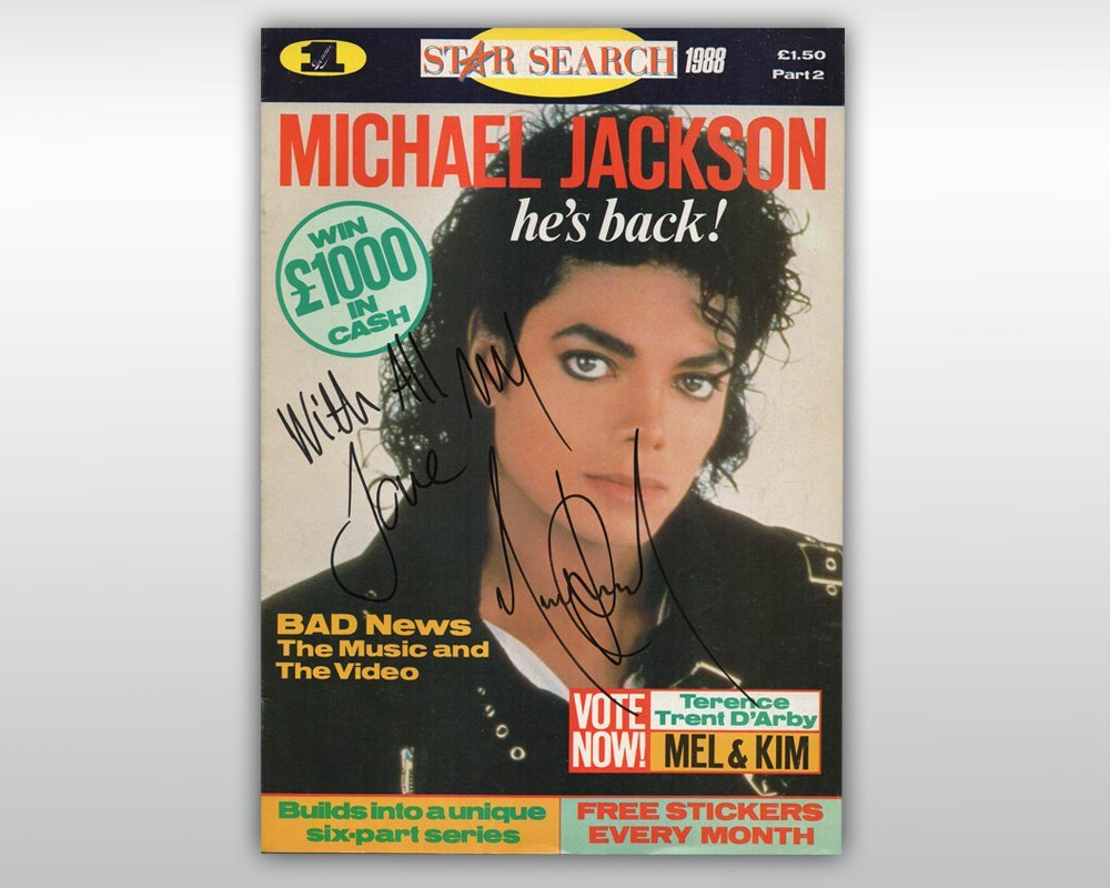 MICHAEL JACKSON SIGNED STAR SEARCH MAGAZINE 1988