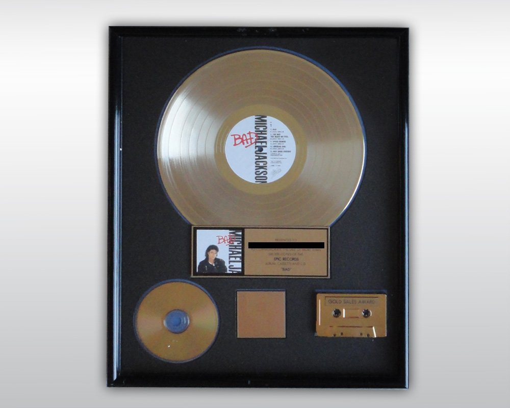 MICHAEL JACKSON BAD GOLD RIAA AWARD