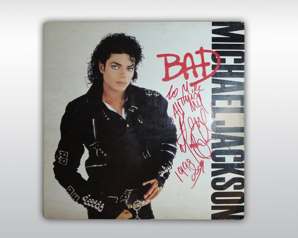 MICHAEL JACKSON INSCRIBED SIGNED BAD ALBUM