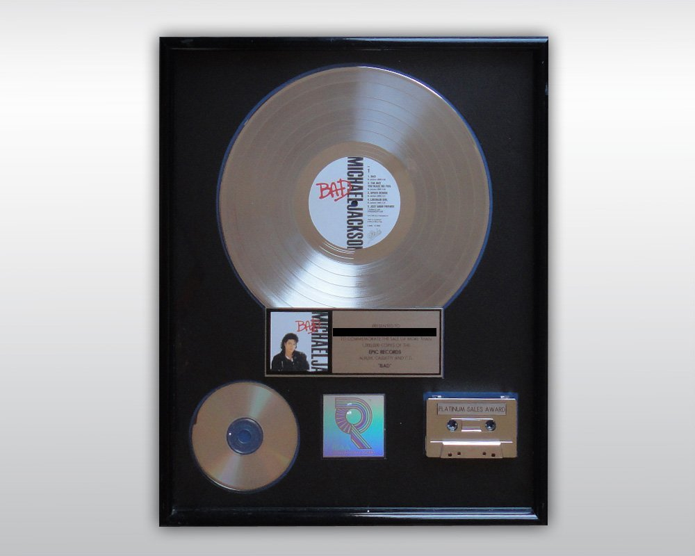 MICHAEL JACKSON BAD PLATINUM RIAA AWARD