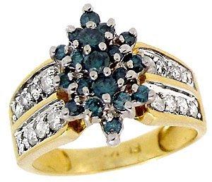 1: 1cttw Teal Blue & White Diamond cluster ring
