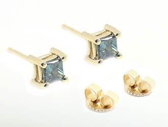 2: .40ct blue diamond princess cut stud earring