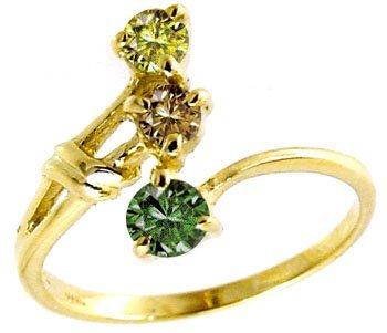 3: .38cttw rainbow diamond 3 stone ring