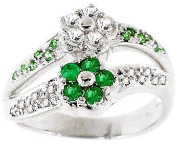 6: WG .60ct emerald white sapphire flower ring