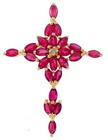 15: 14YG 3ct Ruby Diamond cross pendant