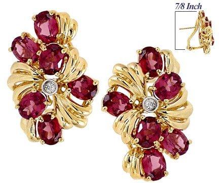16: 6ct Rhodolite Garnet 6 oval dia earring