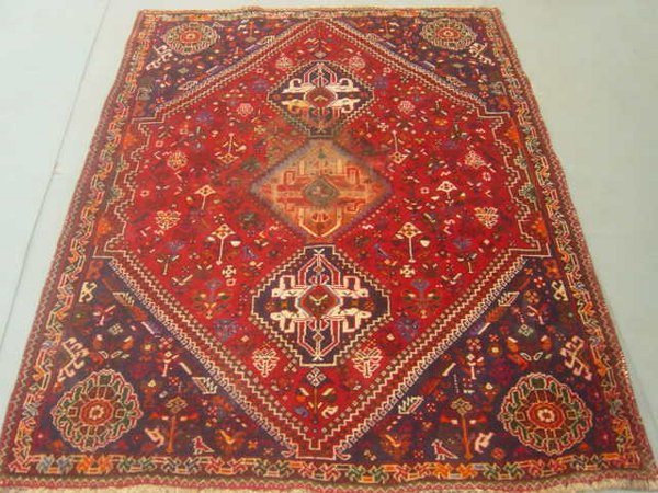13:  Semi Antique Rugs Persian Shiraz Rug 6x4