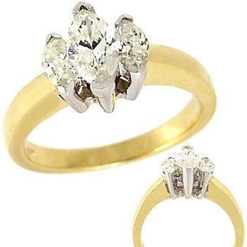 52: 1ct Marquise Past Present Future Diamond Ring