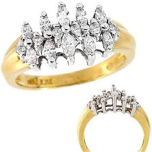 10YG 1cttw Diamond marquise pyramid ring