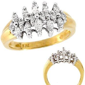 1001: 10YG 1cttw Diamond marquise pyramid ring