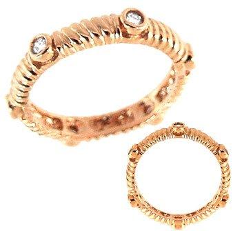 1002: ROSE GOLD 1/5ct diamond bezel set band Ring