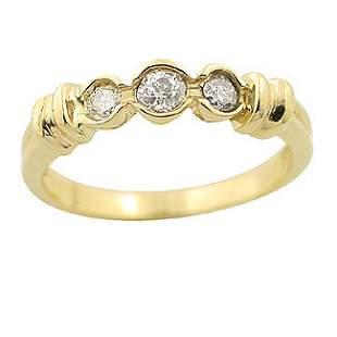 .37ct DIAMOND 3 stone bezel ribbed band Ring