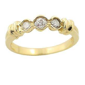 1003: .37ct DIAMOND 3 stone bezel ribbed band Ring