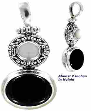 Silver Mother of Pearl & Onyx Slide Pendant