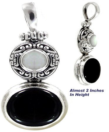 1005: Silver Mother of Pearl & Onyx Slide Pendant